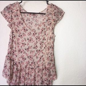 Pink Ruffled Floral Casual XS Summer Blouse